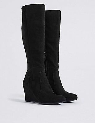 Wedge Heel Side Zip Knee High Boots, BLACK, catlanding