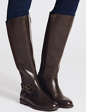 Block Heel Side Zip Knee High Boots, CHOCOLATE, catlanding