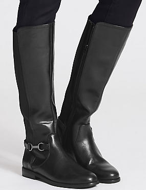 Block Heel Side Zip Knee High Boots, BLACK, catlanding