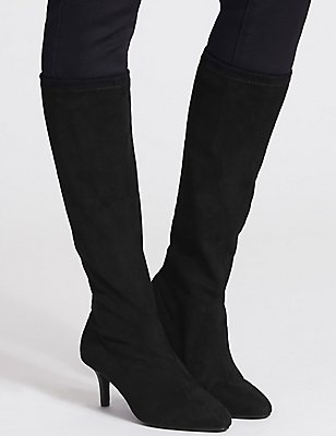 Kitten Heel Pointed Stretch Knee Boots, BLACK, catlanding