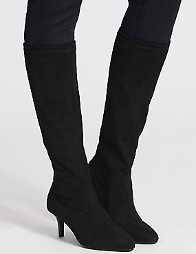 Kitten Heel Pointed Stretch Knee Boots, BLACK, catlanding