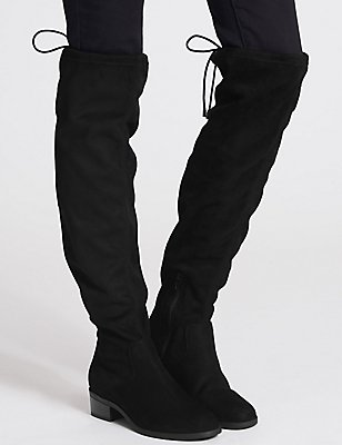 Block Heel Over the Knee Boots, BLACK, catlanding