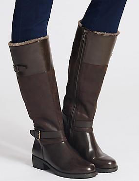 Block Heel Fur Lined Knee High Boots, CHOCOLATE, catlanding