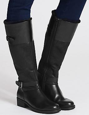 Block Heel Fur Lined Knee High Boots, BLACK, catlanding