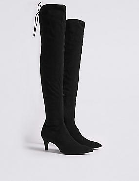 Kitten Heel Side Zip Over the Knee Boots, BLACK, catlanding