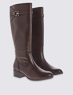 Leather Classic Knee Boots, CHOCOLATE, catlanding