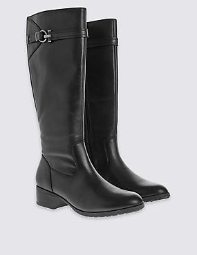 Leather Classic Knee Boots, BLACK, catlanding