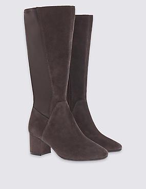 Stain Away™ Wide Fit Suede Blocky Long Boots, DARK GREY, catlanding