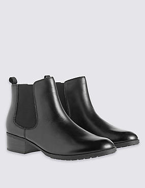 Wide Fit Leather Chelsea Ankle Boots, BLACK, catlanding