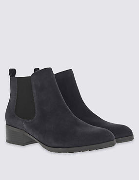 Wide Fit Suede Block Heel Ankle Boots, NAVY, catlanding