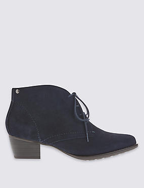 Stain Away™ Suede Derby Lace Up Ankle Boots, NAVY, catlanding