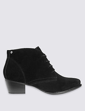 Stain Away™ Suede Derby Lace Up Ankle Boots, BLACK, catlanding