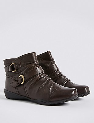 Wide Fit Leather Wedge Ruched Ankle Boots, BROWN, catlanding