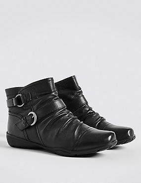 Wide Fit Leather Wedge Ruched Ankle Boots, BLACK, catlanding