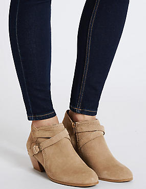 Wide Fit Suede Angular Heel Ankle Boots, STONE, catlanding