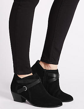 Wide Fit Suede Angular Heel Ankle Boots, BLACK MIX, catlanding