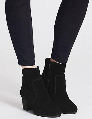 Suede Block Heel Crepe Effect Ankle Boots, BLACK MIX, catlanding