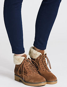 Wide Fit Leather Block Heel Ankle Boots, SAND, catlanding