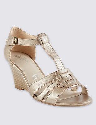 Leather Wide Fit Wedge Gladiator Sandals, METALLIC, catlanding