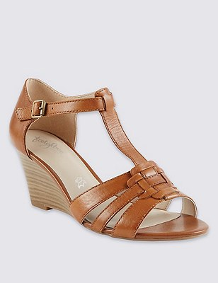 Leather Wide Fit Wedge Gladiator Sandals, TAN, catlanding
