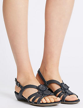 Wide Fit Leather Flower Sandals , NAVY, catlanding