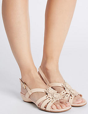 Wide Fit Leather Flower Sandals, ALABASTER, catlanding
