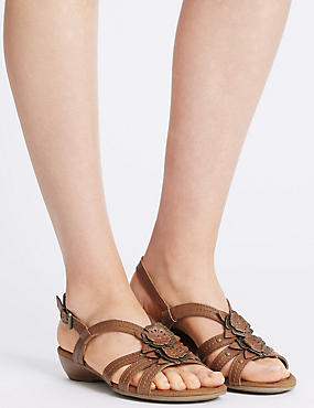 Wide Fit Leather Flower Sandals , TAN, catlanding