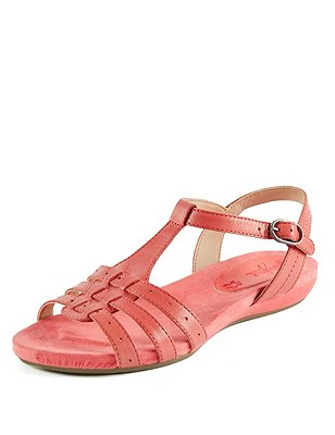 Leather Wide Fit Gladiator Sandals, CORAL, catlanding