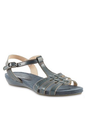 Leather Wide Fit Gladiator Sandals, NAVY, catlanding