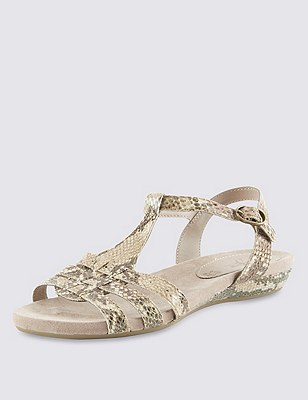 Leather Wide Fit Gladiator Sandals, NEUTRAL, catlanding