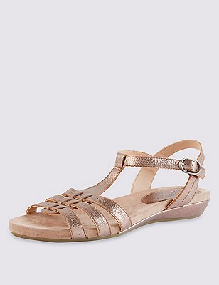 Leather Wide Fit Gladiator Sandals, PEWTER, catlanding