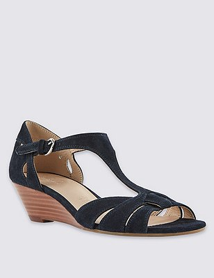 Leather T-Bar Wide Fit Wedge Sandals, NAVY, catlanding