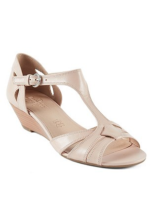 Leather T-Bar Wide Fit Wedge Sandals, NUDE, catlanding