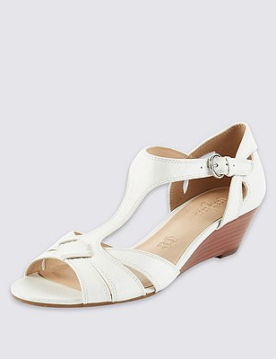 Leather T-Bar Wide Fit Wedge Sandals, WHITE, catlanding