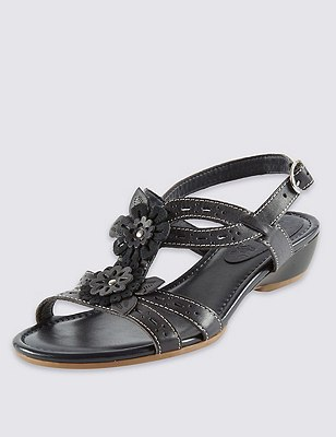 Leather Floral Punch Hole Wide Fit Sandals, NAVY, catlanding