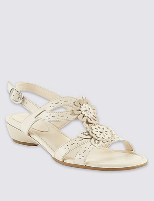 Leather Floral Punch Hole Wide Fit Sandals, ALABASTER, catlanding