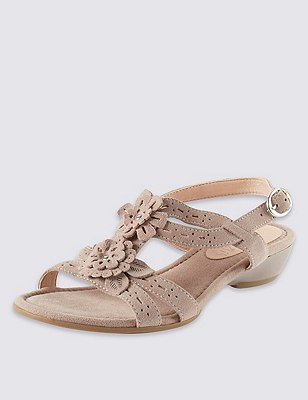 Leather Floral Punch Hole Wide Fit Sandals, NEUTRAL, catlanding