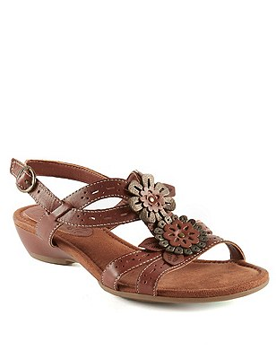 Leather Floral Punch Hole Wide Fit Sandals, TAN, catlanding