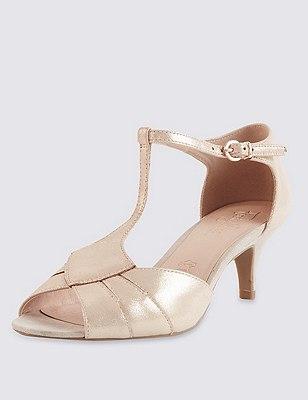 Suède sandalen met T-sluiting, brede pasvorm en Stain Away™, METALLIC, catlanding