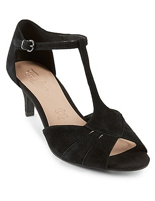 Stain Away™ Suede T-Bar Sandals, BLACK MIX, catlanding
