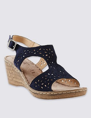 Stain Away™ Suede Wide Fit Cut-Out Wedge Sandals, NAVY, catlanding