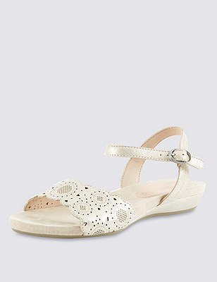 Leather Two Part Wide Fit Cut-Out Sandals, GOLD, catlanding