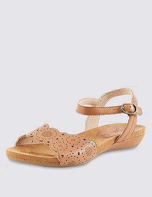 Leather Two Part Wide Fit Cut-Out Sandals, TAN, catlanding