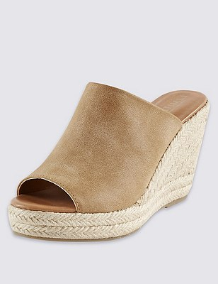Peep Toe Espadrille Mule with Insolia®, TAN, catlanding