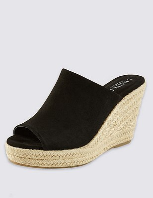 Peep Toe Espadrille Mule with Insolia®, BLACK, catlanding