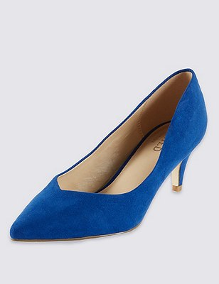Faux Suede Pointed Toe Courts with Insolia® , COBALT, catlanding