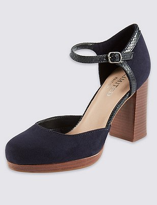 Two Part Platform Court Shoes with Insolia®, NAVY MIX, catlanding