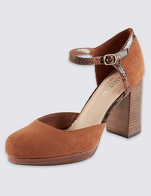 Two Part Platform Court Shoes with Insolia®, TAN, catlanding