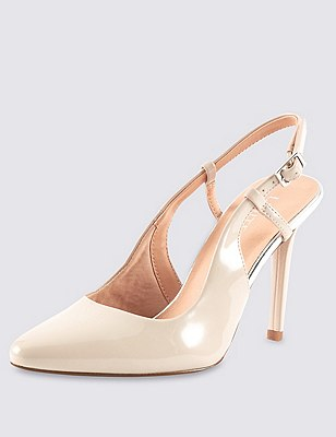High Cut Slingback Court Shoes with Insolia®, NUDE, catlanding