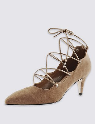 Faux Suede Ghillie Court Shoes with Insolia®, KHAKI, catlanding